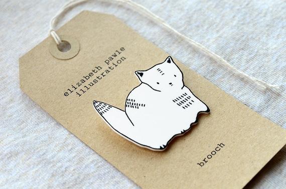 cat brooch - by elizabeth pawle - modern design - hand drawn hand cut - illustration pin badge