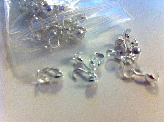 50 Silver Plated Clamshell Knot Covers