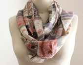 upcycled silk scarf in geometric floral print, extra long infinity  ***FREE SHIPPING (USA address only)