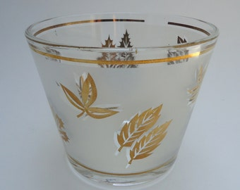 Libbey Golden Foilage Ice Bucket, Golden Leaves Frosted Glass Signed Starlyte