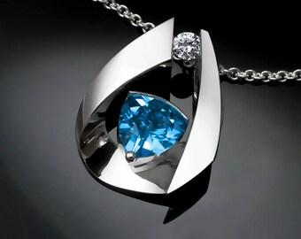 Swiss blue topaz, statement necklace, blue topaz pendant, white sapphire, December birthstone, fine jewelry, Argentium silver - 3455