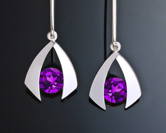 amethyst earrings, silver earrings, gemstone jewelry, purple earrings. February birthstone, eco-friendly, dangle earrings, for her - 2424