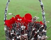 SALE SALE SALE Covered Rustic Flower Girl Basket