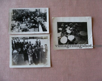 Vintage Lot of 3 WWll Photos . 3 x 5 Navy Movie Star  -  Supply Depot - Standing in Line