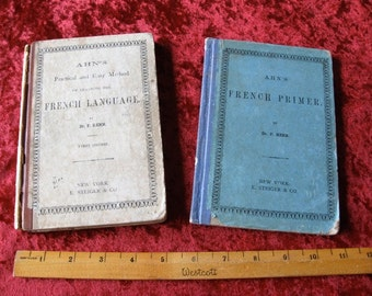 Two Antique FRENCH Language Books 1873 french Language and French Primer School books