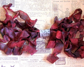 CRIMSON Crinkled Cottage Ribbon