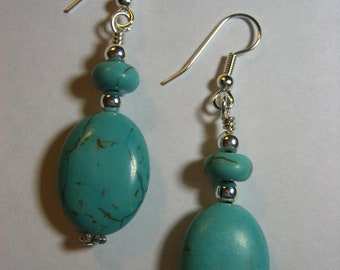 Puffy Oval Turquoise Earrings, Jewelry,Silver Earrings,Gift for Her,Dangle Earrings,Drop Earrings,Crystal Earrings,Gifts for Mom,Turquoise