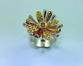 SUNBURST FLOWER: Champagne, Yellow, and Green Diamonds,14k Yellow Gold, and Sterling Silver Ring