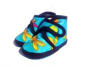 Baby Booties Dragonfly Turquoise Navy Blue Yellow Baby Shoes Newborn