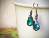 Pear Rhinestone Earrings, Simple, Emerald, Green, Everyday