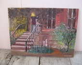 reserved for olga--original oil painting signed oil painting city street city brownstone oil on canvas