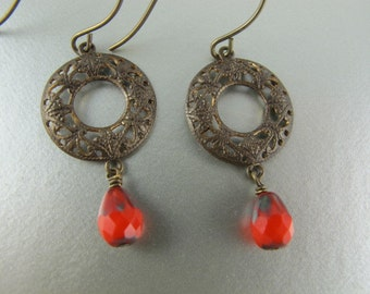Earrings, Under Ten Dollars, Bright Red Glass Teardrop Dangle, Vintaj Brass Filigree and Earwires