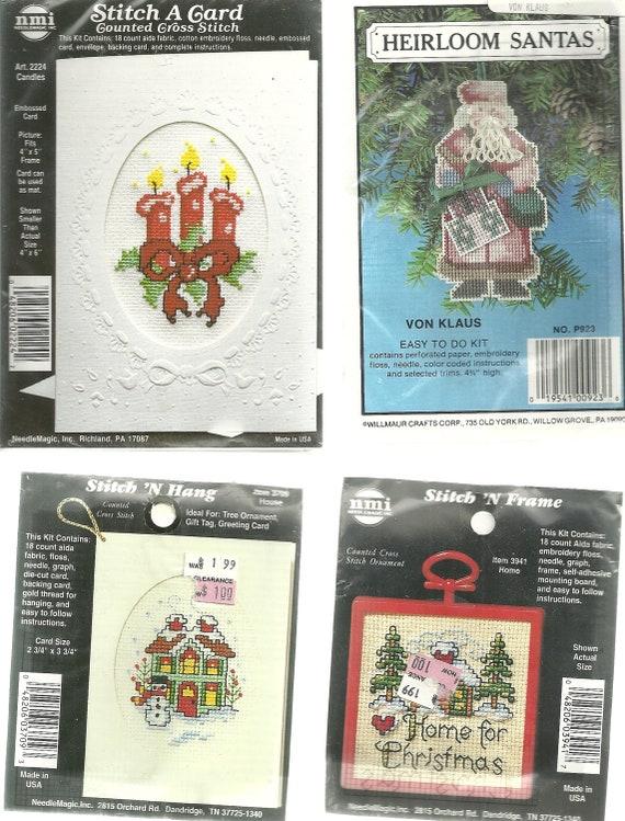 4 Mini Christmas Cross Stitch Kits, Cards, Ornaments, Small Kits Santa Claus, Candles
