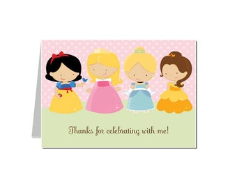50% Off Sale! - PRINTABLE Princess Party Thank You Notecards - INSTANT DOWNLOAD