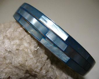 Dyed Blue Mother of Pearl Bangle Bracelet