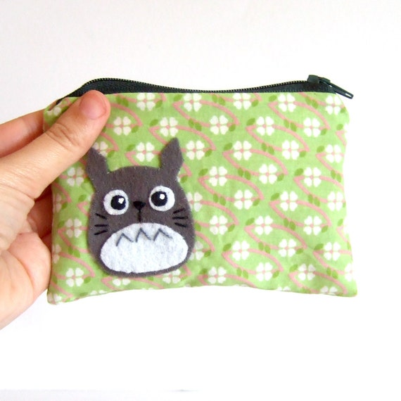 Small Totoro  pouch with super awesome  fabric