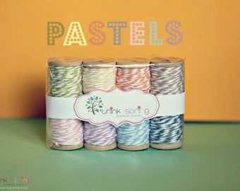 8 Pastel Bakers Twine on Wooden Spool