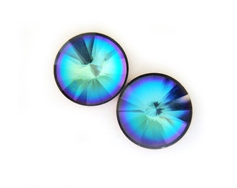 LAST PAIR Rare Vintage Crystal Earrings Blue Purple Green Gold 10mm