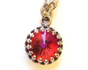 Last One Vintage Swarovski Crystal Necklace Limited Edition Very Rare Orange Pink