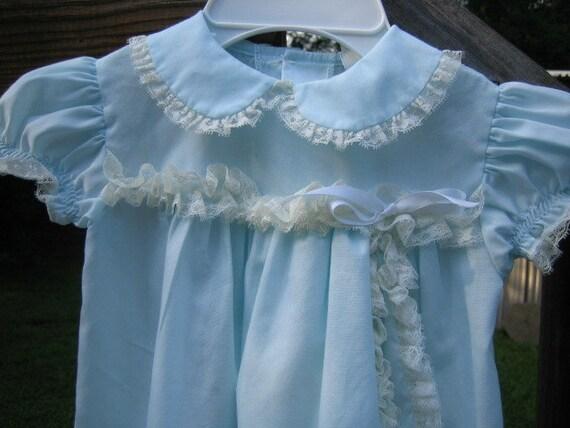 Baby Girls Vintage Blue Cotton Lace Trimmed Dress ... size 12 Months