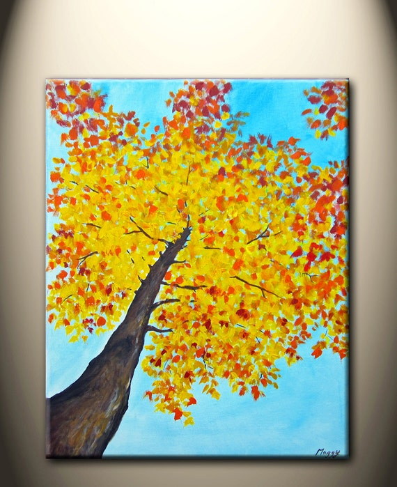 looking up maple tree- original modern painting,16x20inch, ready to hang,10% OFF code: HOLIDAYS