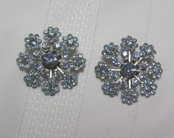 Vintage Blue Rhinestone Flower Cluster Clip Earrings