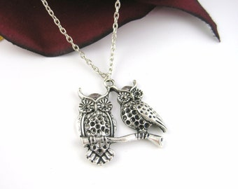 Best Friends Owl Necklace Jewelry - Silver Owl Jewelry - Sterling Silver Owl Necklace Chain Option