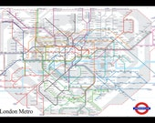 London Metro Tube Subway Map 20x30