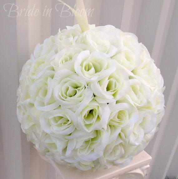 Ivory Flower Ball: Wedding Pomander Kissing Ball Flower Girl By
