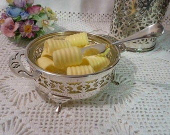 A Glass and Silver Plated Butter or Preserve Dish