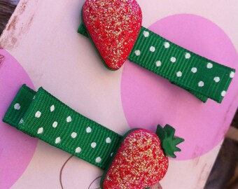 Glittery Strawberry Button Hair Clip Set