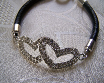 Pave Double Heart and Leather Bracelet Sale