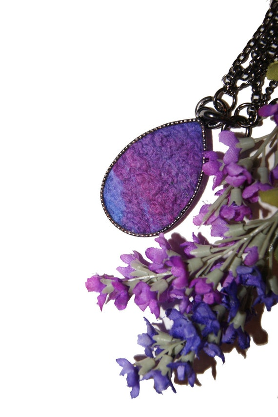 RESERVED FOR MILA - Elena's Felted Jewelry - Violet Purple Lavender Drop Shaped Pendant