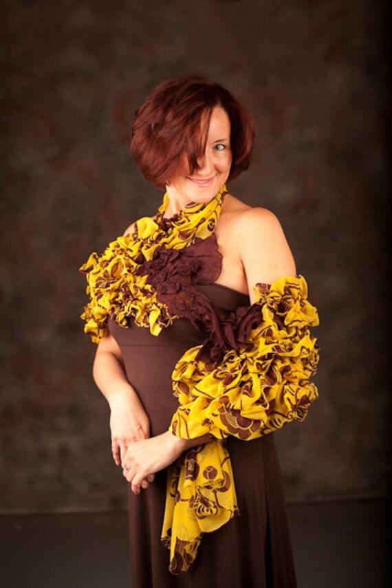 Yellow Brown Wool Flamenco Shawl. Gift under 70