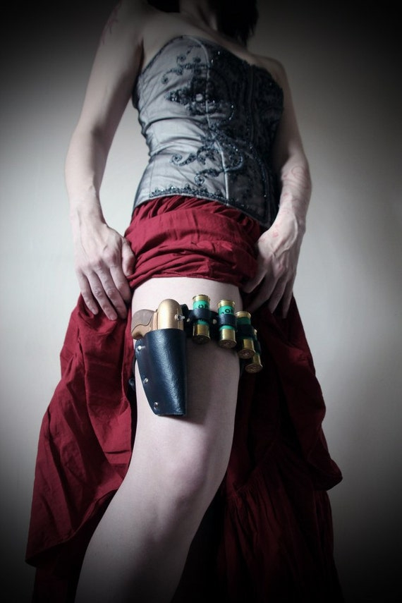 Black Real Leather Garter Belt, Holster, painted steampunk water pistol, 4 shotgun shell containers