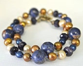 Blue and Brown Necklace with Natural Sodalite , Goldstone and Pearls