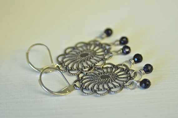 Dark Blue Goldstone Chandelier Earrings with Pewter and Rhodium Metals . Handmade in Maine . Great Gift for MOM