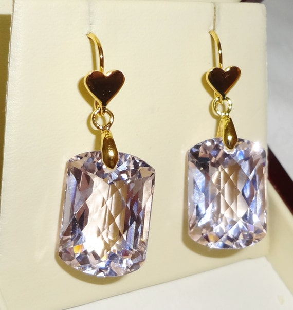 44 cts Natural Cushion CKB soft Pink Topaz gemstones, 14kt yellow gold heart pierced earrings