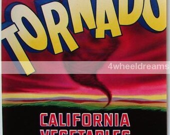 1940s Scarce Tornado Sweeping CA Veggie Crate Label Original Weather