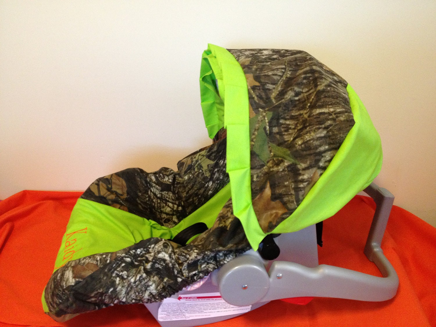 Mossy Oak Camo With Lime Green And Deer Infant Car Seat Cover