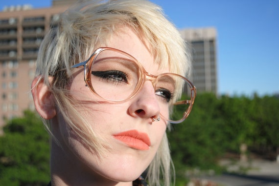 1970's Sexy Mama Vintage Frames, Tobacco Tinted Plastic with Silver Detailing on Arms