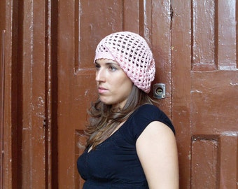 Boho Style Cotton Crochet Women  Pink Hat , Women Pink  Mesh Hat .Made to order