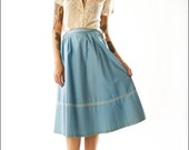 Grecian Blue Mid Century High Waist Full Skirt, Mad Men--S