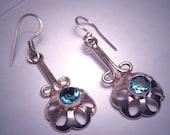 Vintage London Blue Topaz Earrings Sterling Silver Drop