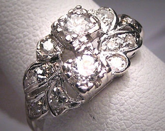 Antique Diamond Wedding Ring Band Vintage Art Deco 1920 Engagement