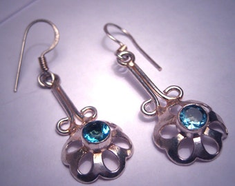 Vintage London Blue Topaz Earrings Sterling Silver Drop