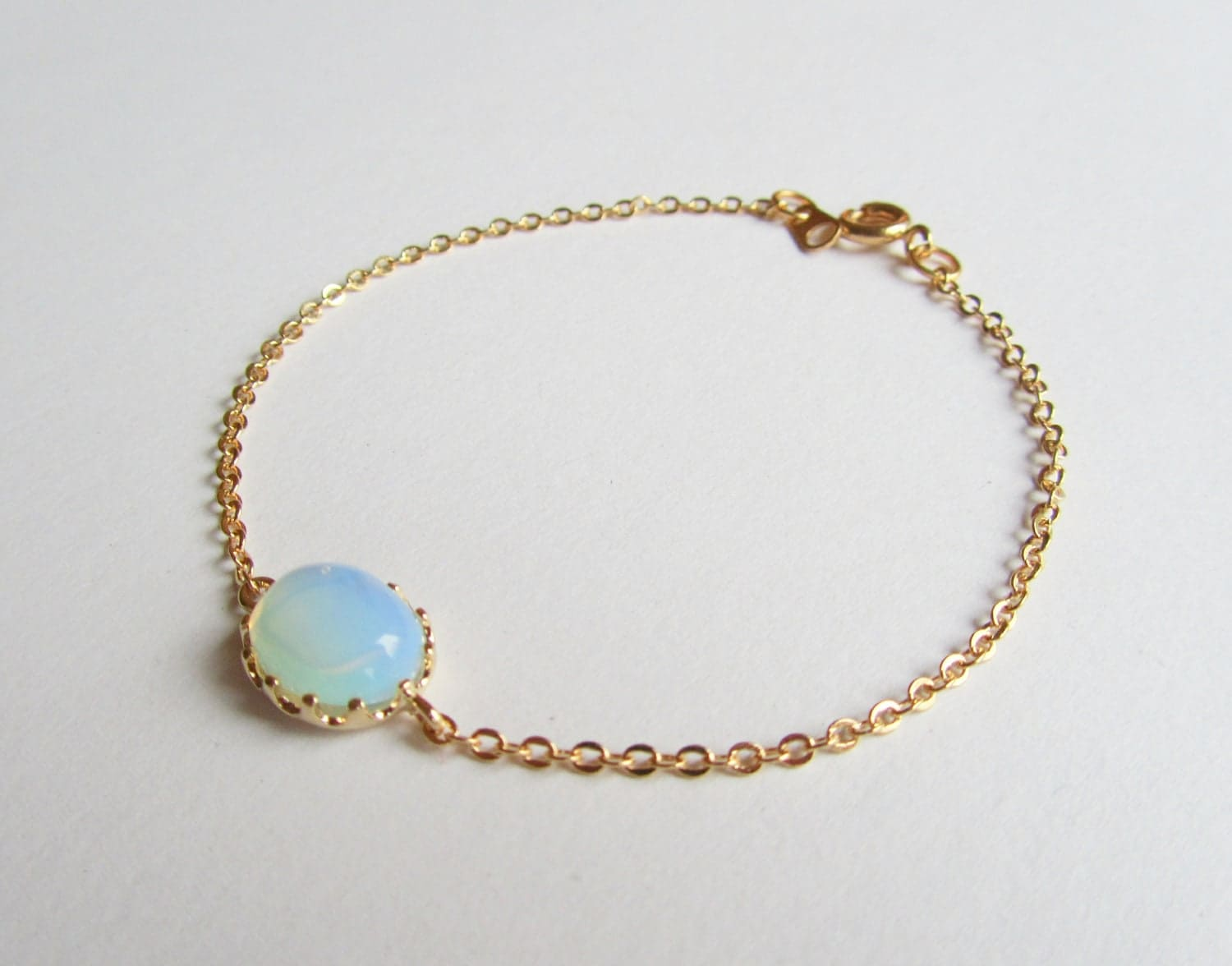 white opal bracelet white opal connector on a gold plated