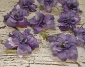 Silk Flowers - 10 Delphinium Blossoms in Shades of LAVENDER - ALMOST 2.75 Inches - Artificial Flowers