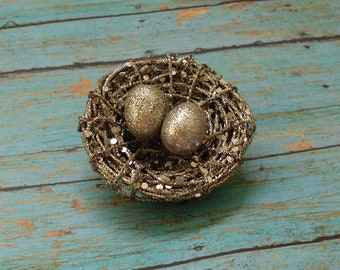 Artificial Nest - SILVER Glitter Twig Nest with Two Silver Eggs - Artificial Bird's Nest with Eggs