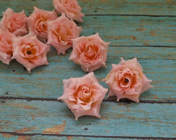 Silk FLowers - NINE Light Pink Mini Roses - 1.75 - 2 Inches - Artificial Flowers